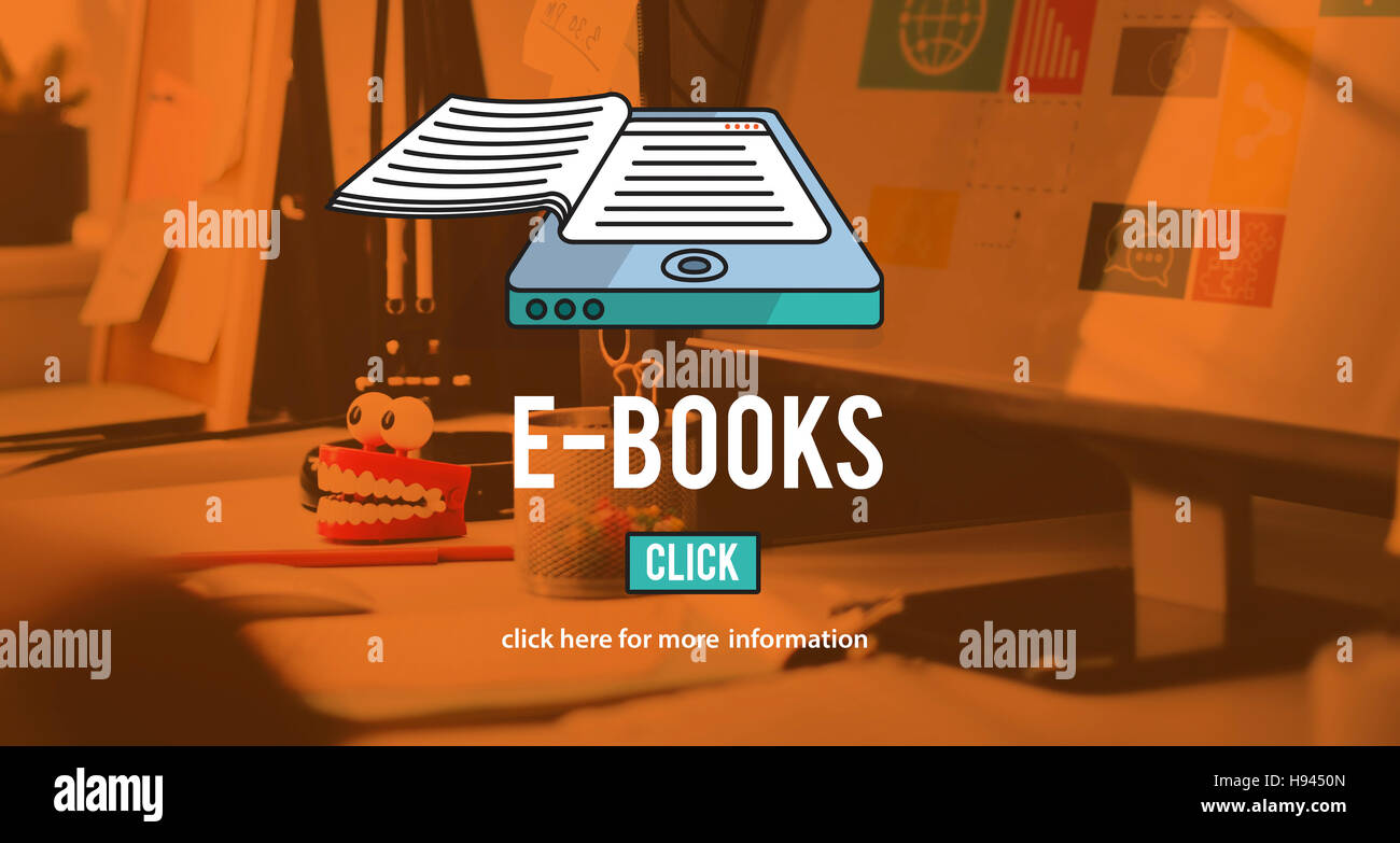 E-BOOKS E-Reader Principe Technologique Innovation Littérature Médias Photo Stock
