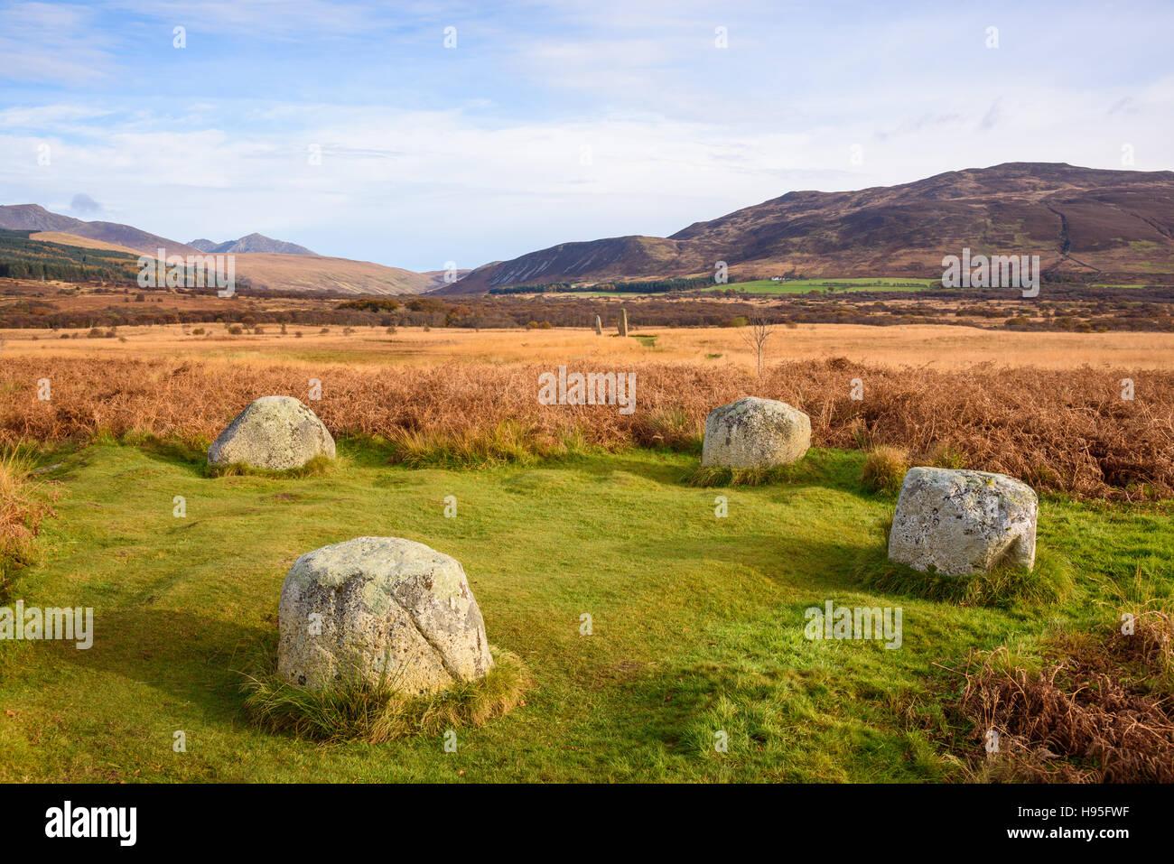 Machrie Moor lit à baldaquin, cercles de pierres, Isle of Arran, North Ayrshire, Ecosse Photo Stock