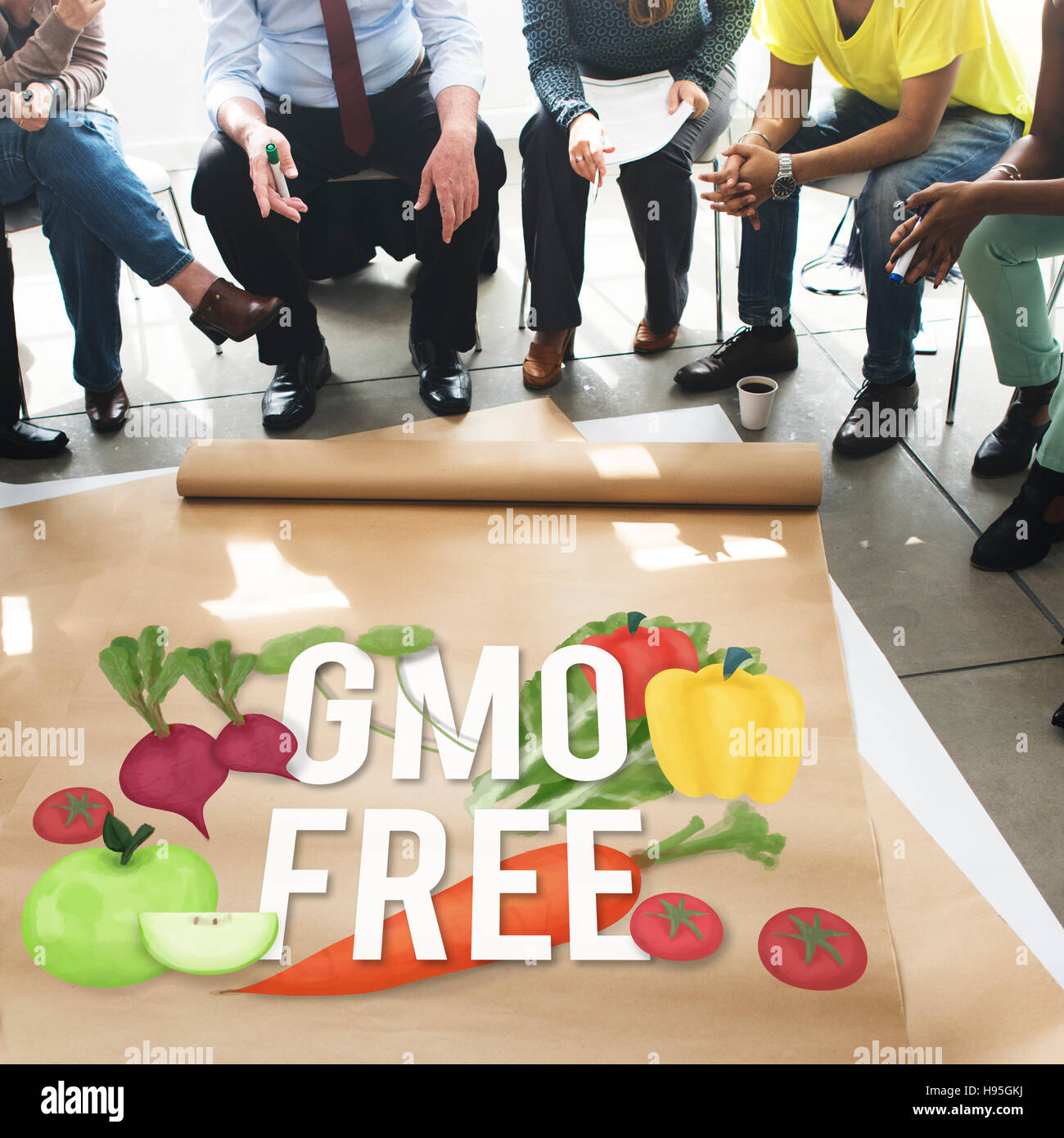 Sans OGM organisme génétiquement modifié Concept sain Photo Stock
