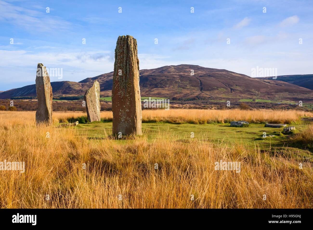 Machrie Moor cercles de pierres, Isle of Arran, North Ayrshire, Ecosse Banque D'Images