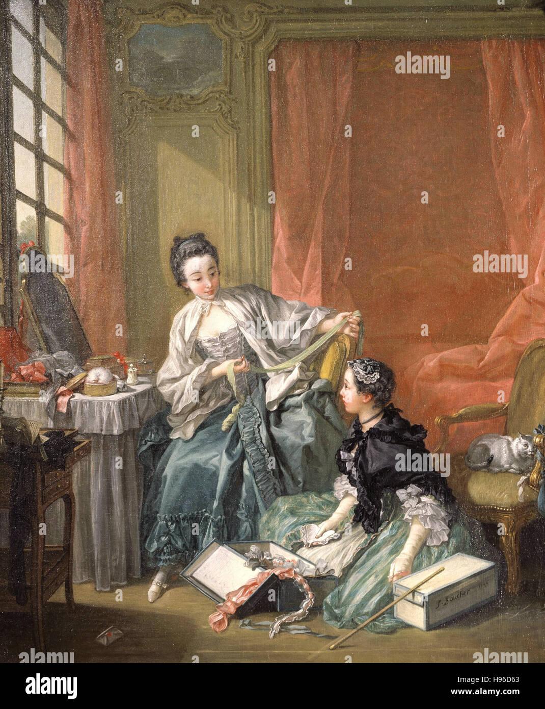 François Boucher - La modiste (le matin) La marchande de modes - 1746 Photo Stock
