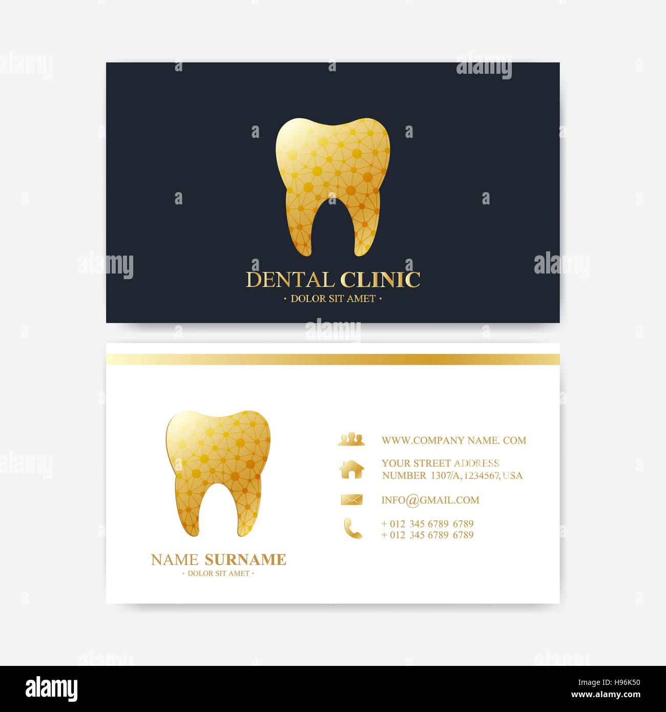 Modle DImpression Carte De Visite Premium Clinique Dentaire Avec Logo La Dent Bureau Dentiste Oral Care Les Implants Dentaires Or