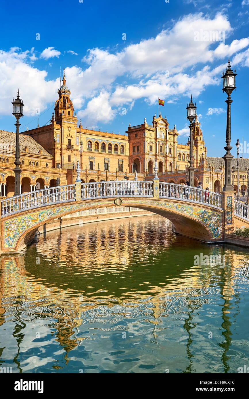 Plaza de España, Séville, Andalousie, Espagne Photo Stock