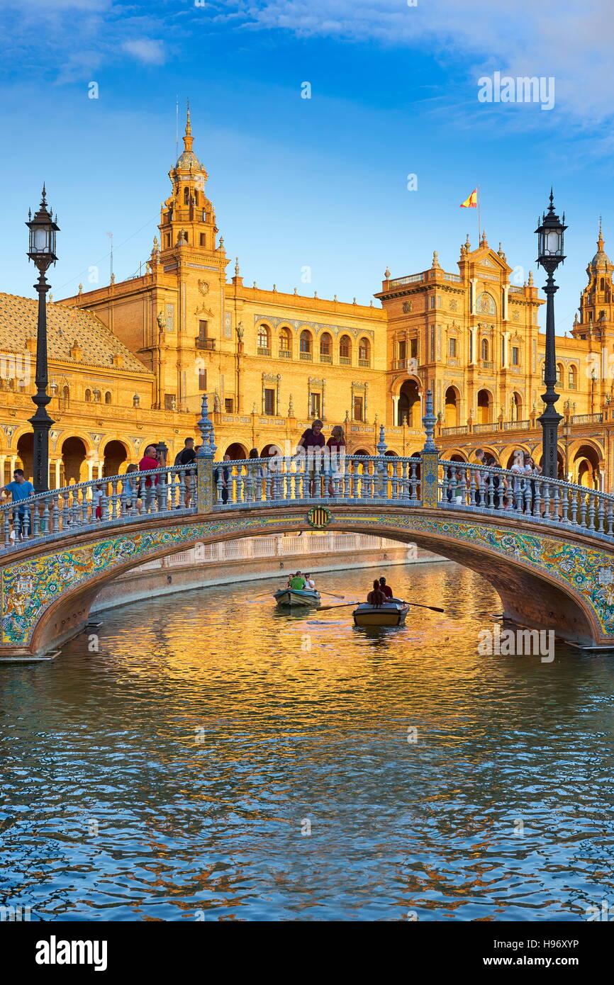 Espagne - Plaza de España, Séville, Andalousie Photo Stock