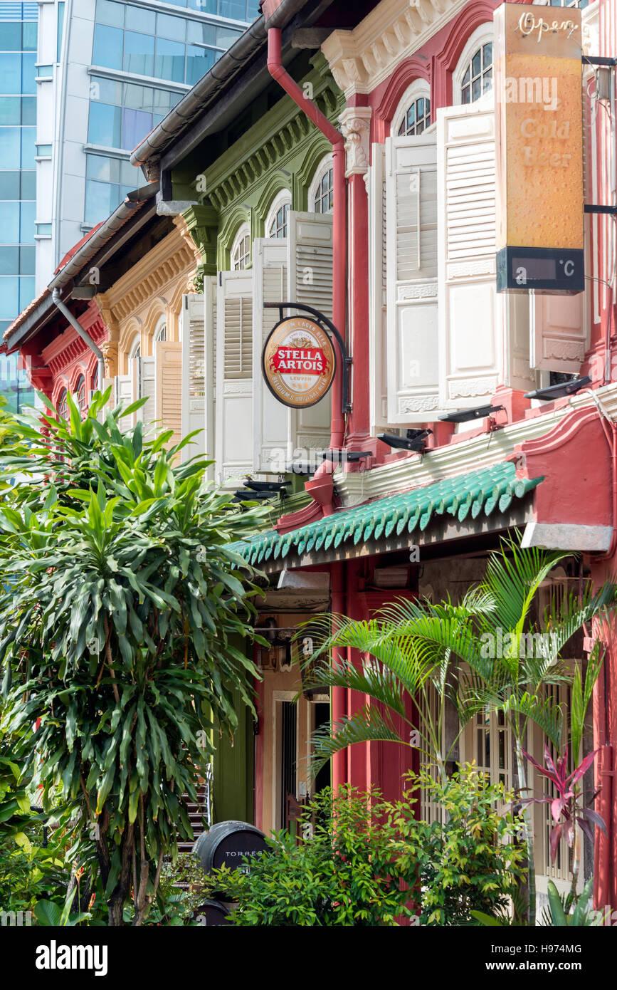 L'architecture coloniale sur Emerald Hill Road, Secteur Central, l'île de Pulau Ujong (Singapour), Photo Stock