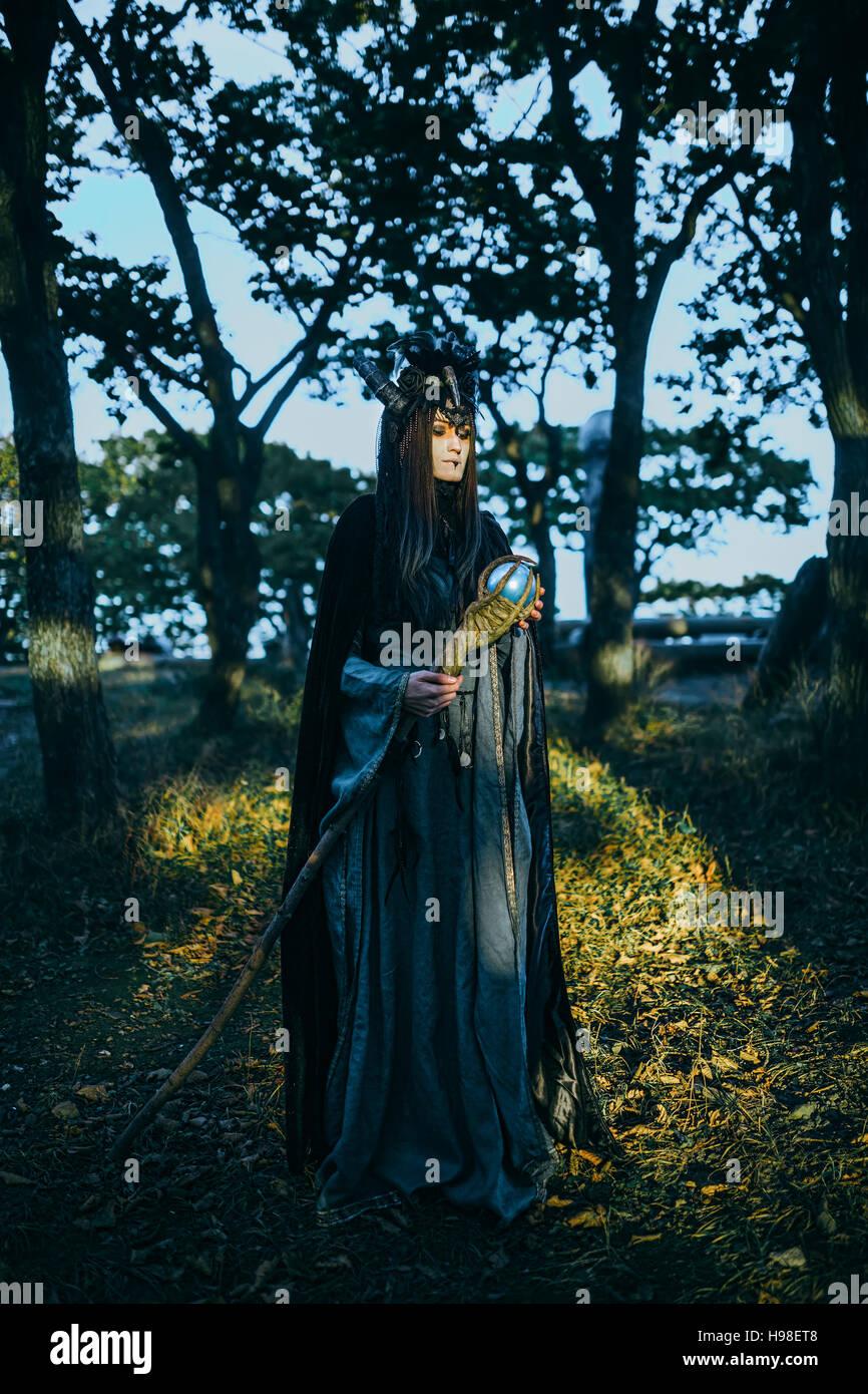 Femme-chaman avec cornes Photo Stock