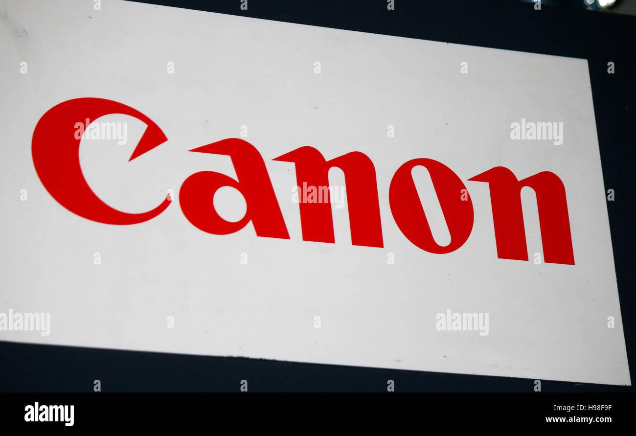 "Logo das der Marke ""Canon"", Berlin. Banque D'Images"