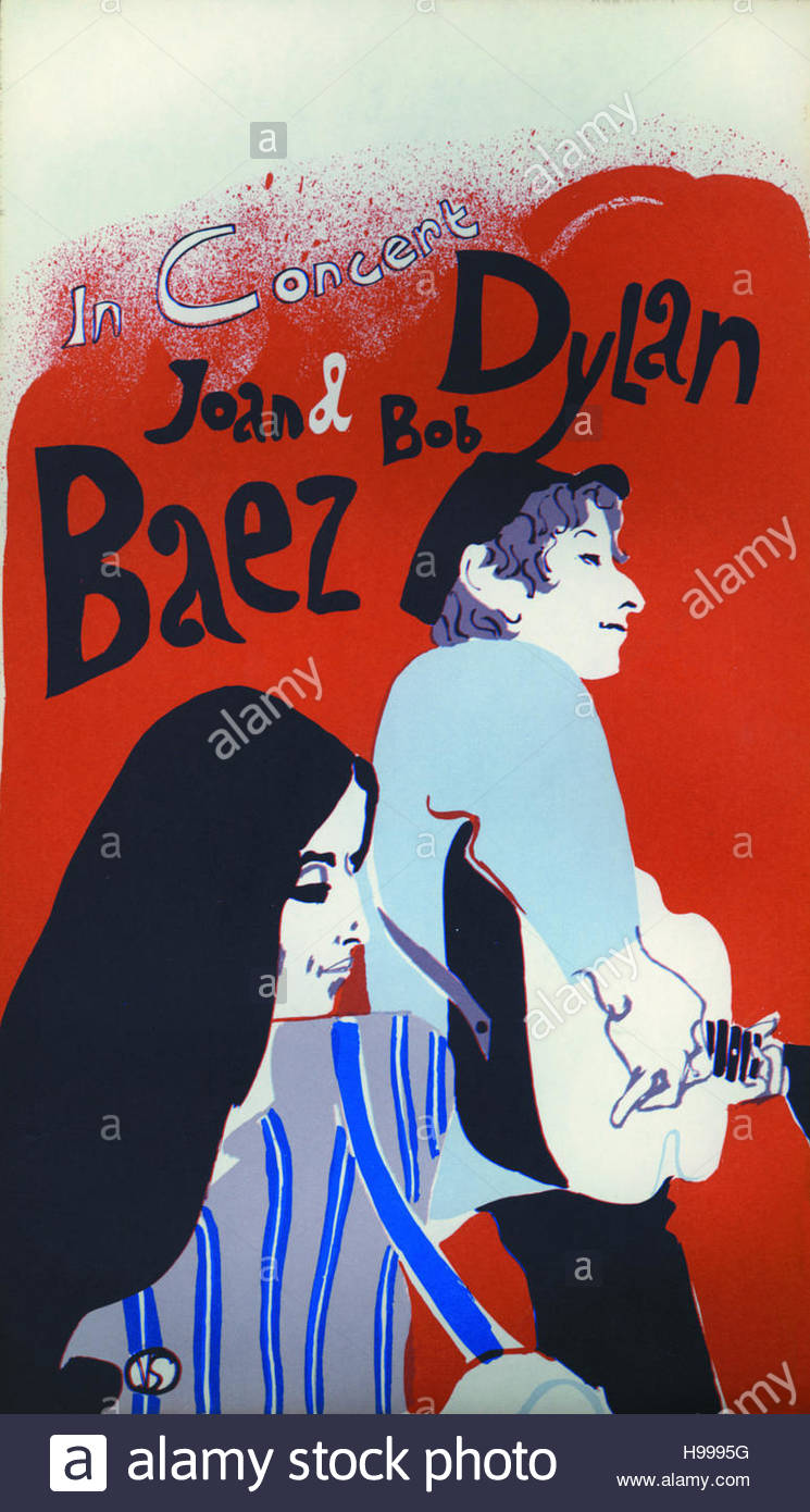 Bob Dylan et Joan Baez affiche, circa 1960 Photo Stock