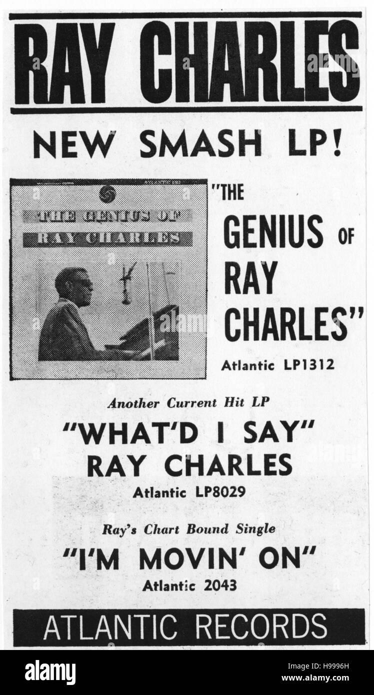 RAY CHARLES avec annonces pour son album 'Le génie de Ray Charles, circa 1960 Photo Stock