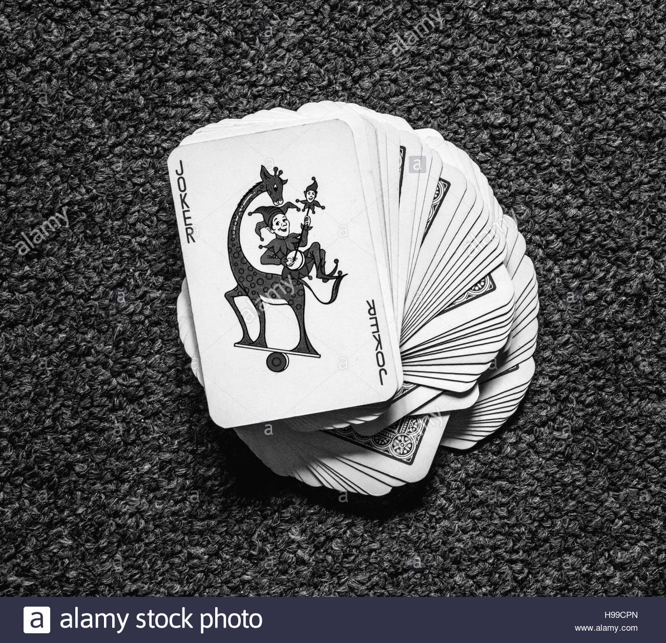 Joker jeu de cartes noir et blanc photo stock