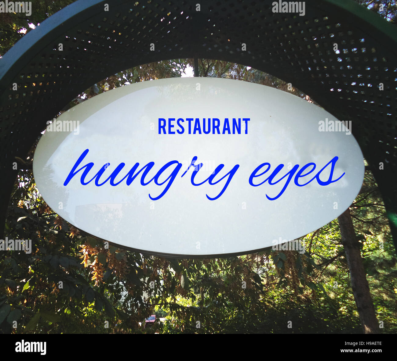 Restaurant, fonds, textures hangry yeux, motivation, poster, citations, image floue Photo Stock