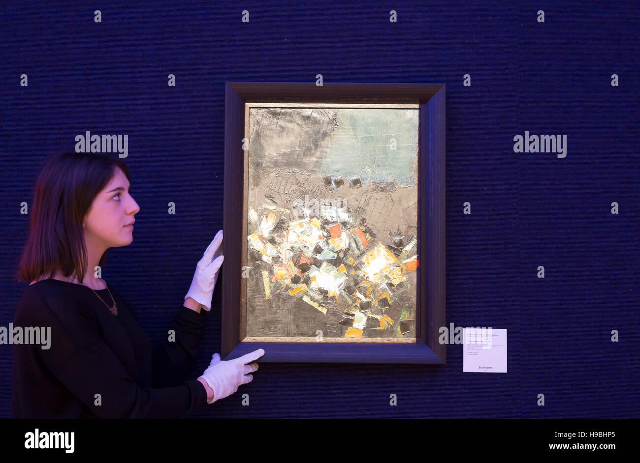 Londres, Royaume-Uni. 21 Nov, 2016. Syed Haider Raza (Indiens, 1922-2016) Paysage Nocturne (1961) et l'Irlandais moderne britannique Bonhams vente d'art en Londo Crédit: Keith Larby/Alamy Live News Banque D'Images