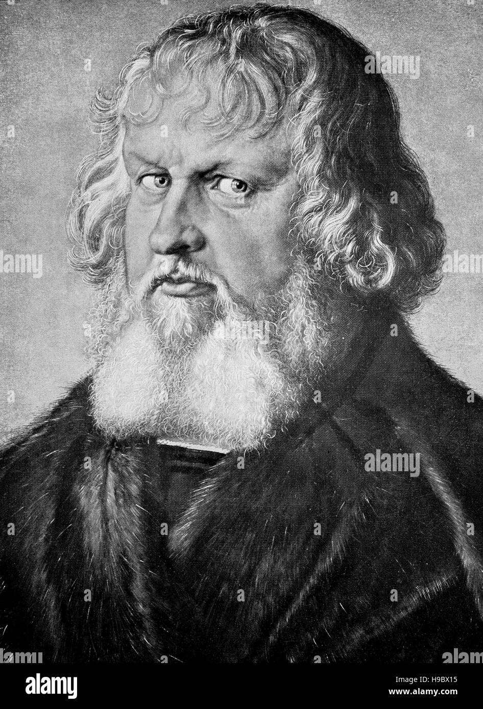 Le Portrait de Hieronymus Holzschuher est une toile de maître Albrecht Duerer Renaissance Allemande, datée Photo Stock