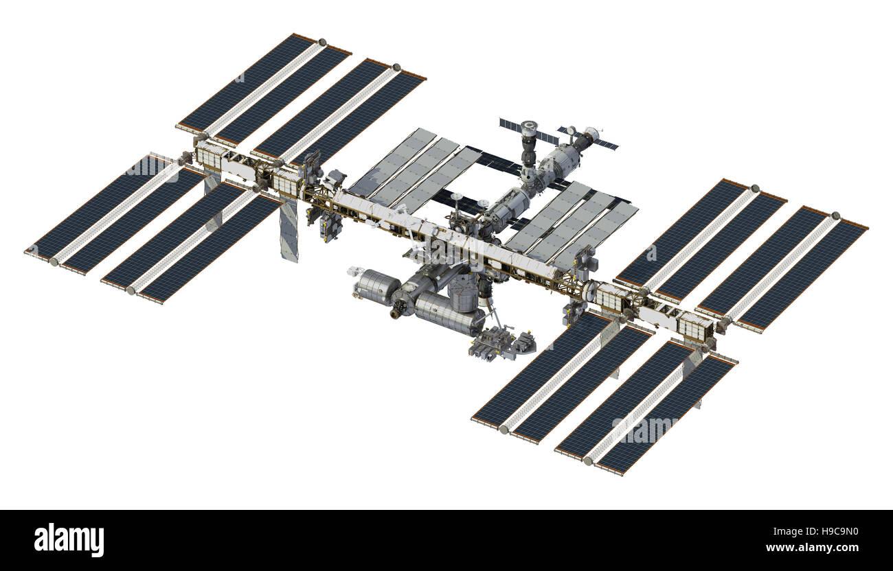 Station Spatiale Internationale sur fond blanc. 3D Illustration. Photo Stock