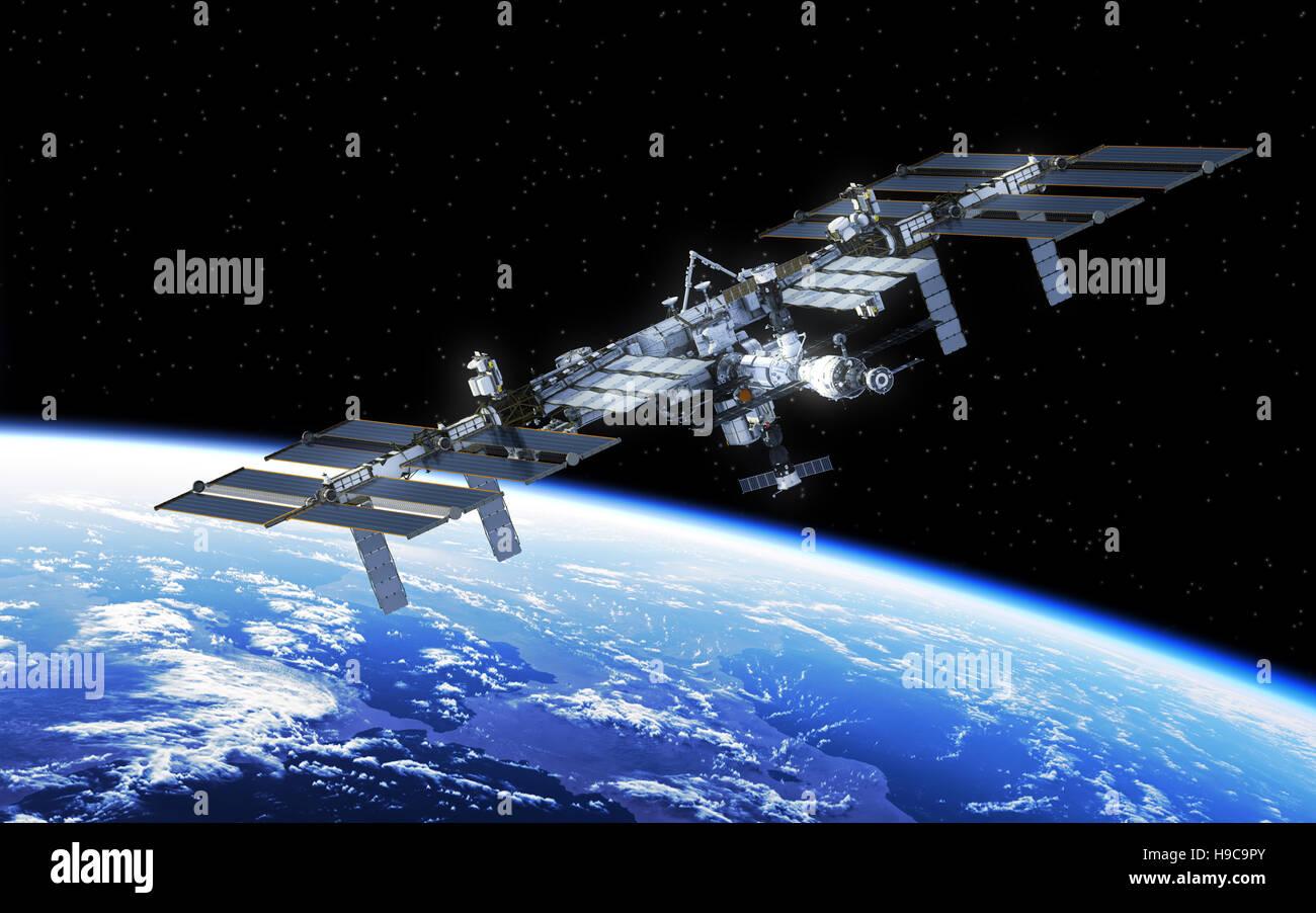 Station spatiale internationale en orbite autour de la Terre. 3D Illustration. Photo Stock