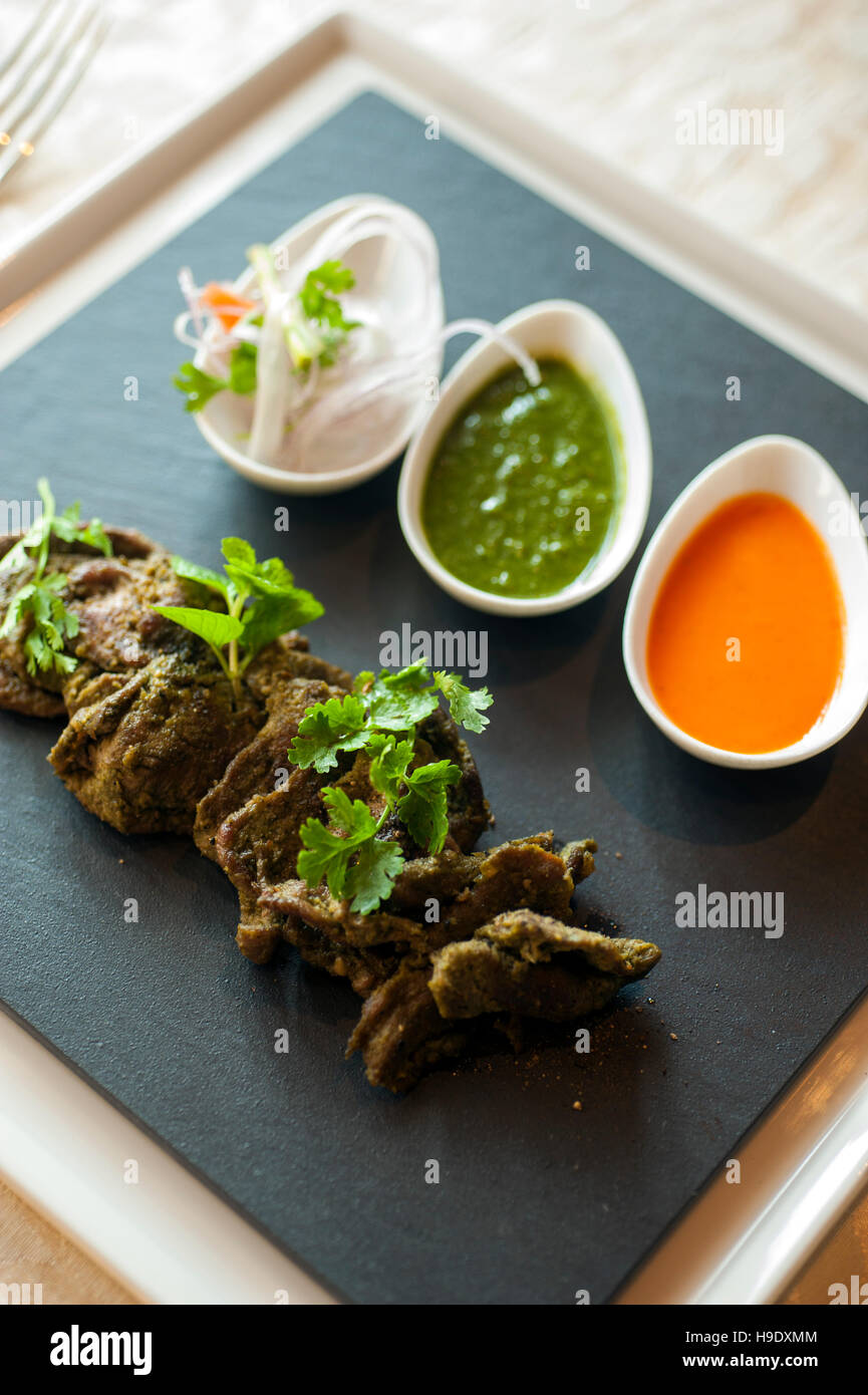 Kebab d'agneau à falaknuma palace à Hyderabad, Inde. Photo Stock
