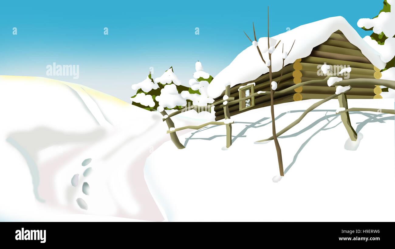 Hiver russe dans un village maison en bois couverte de neige en un jour d hiver enneigé illustration faite à la main dans un style dessin animé classique