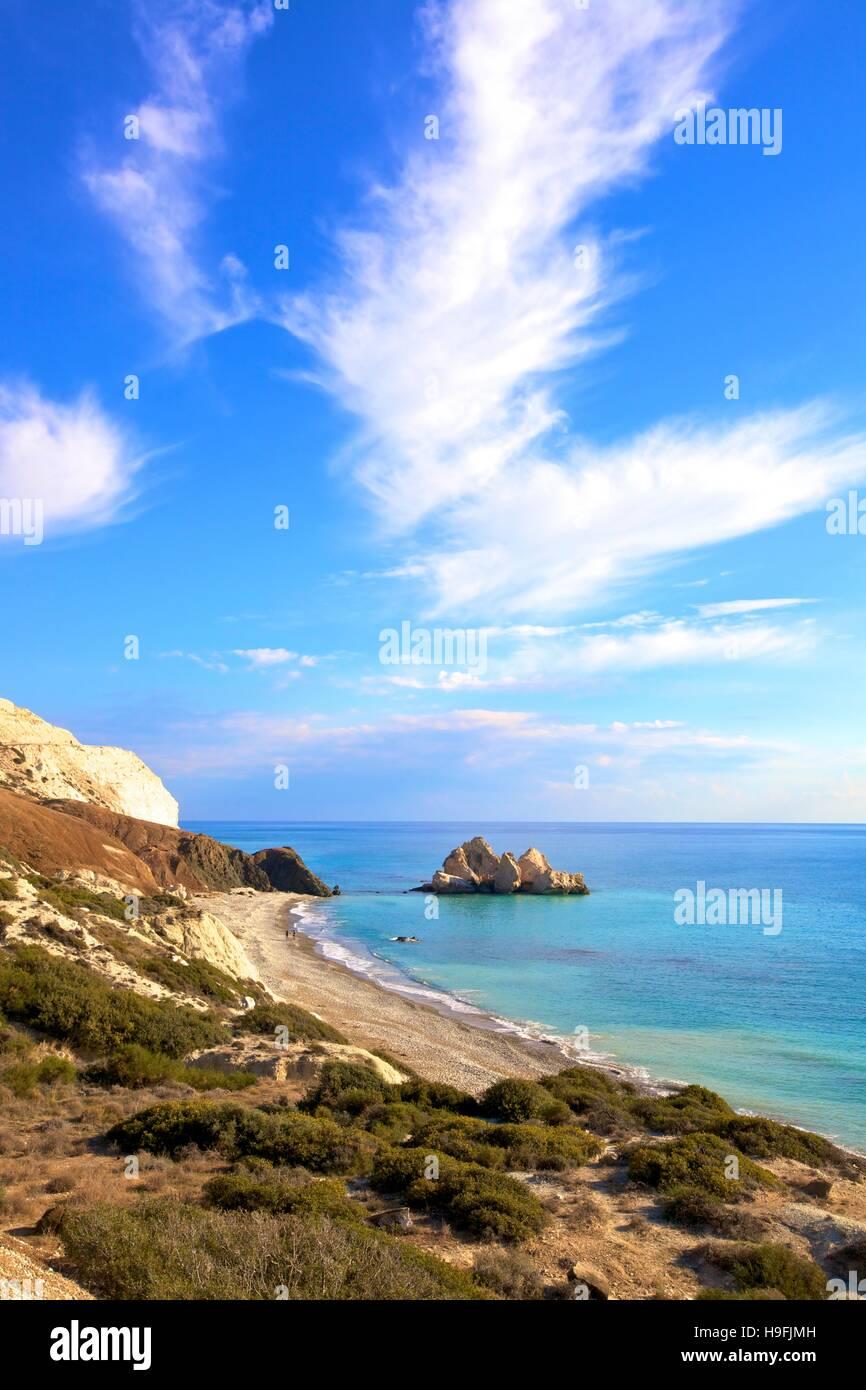 Rock sarrasine, Paphos, Chypre, Méditerranée orientale Photo Stock