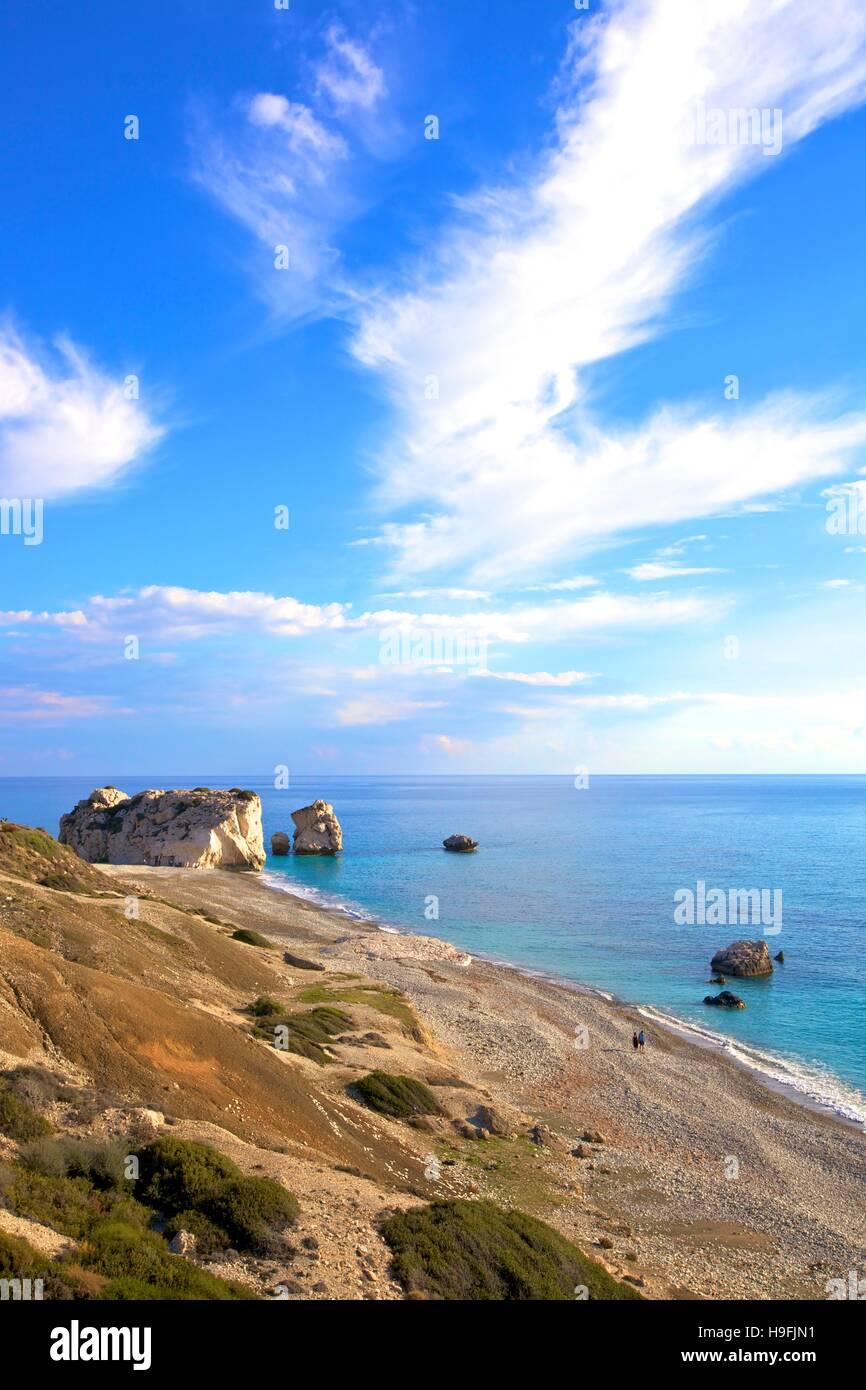 Rocher d'Aphrodite, Paphos, Chypre, Méditerranée orientale Photo Stock