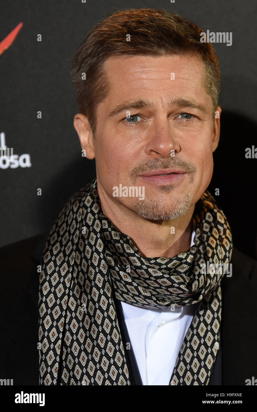 """Madrid, Espagne. 22 Nov, 2016. L'acteur américain et producteur William Bradley """"Brad Pitt"""", Photo Stock"""