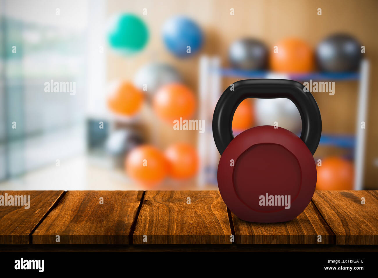 Image composite de rouge métallique kettlebell Photo Stock