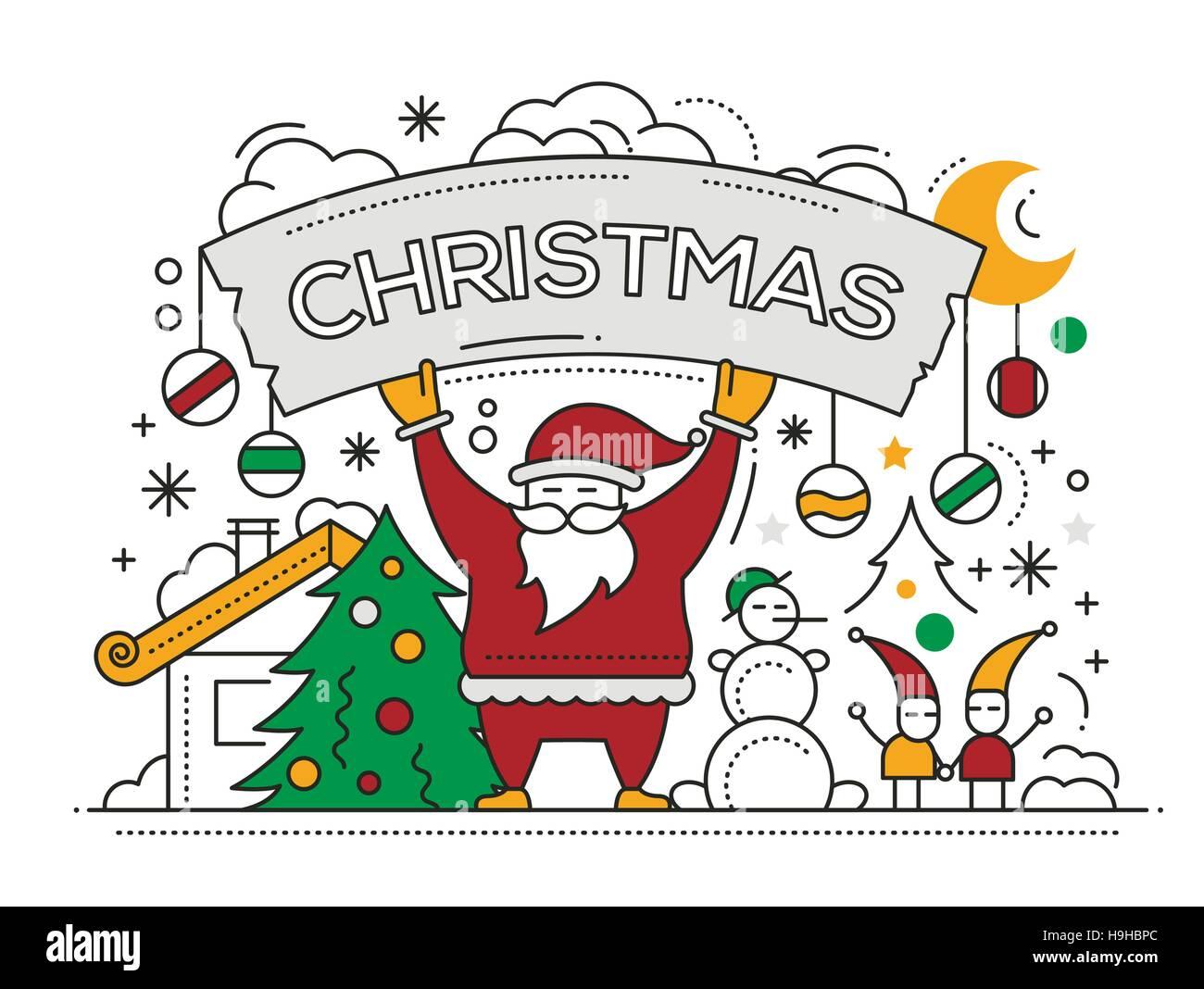 Joyeux Noël télévision ligne design card avec les vacances des symboles - Père Noël, arbre de Noël, bonhomme de neige, la bannière Illustration de Vecteur