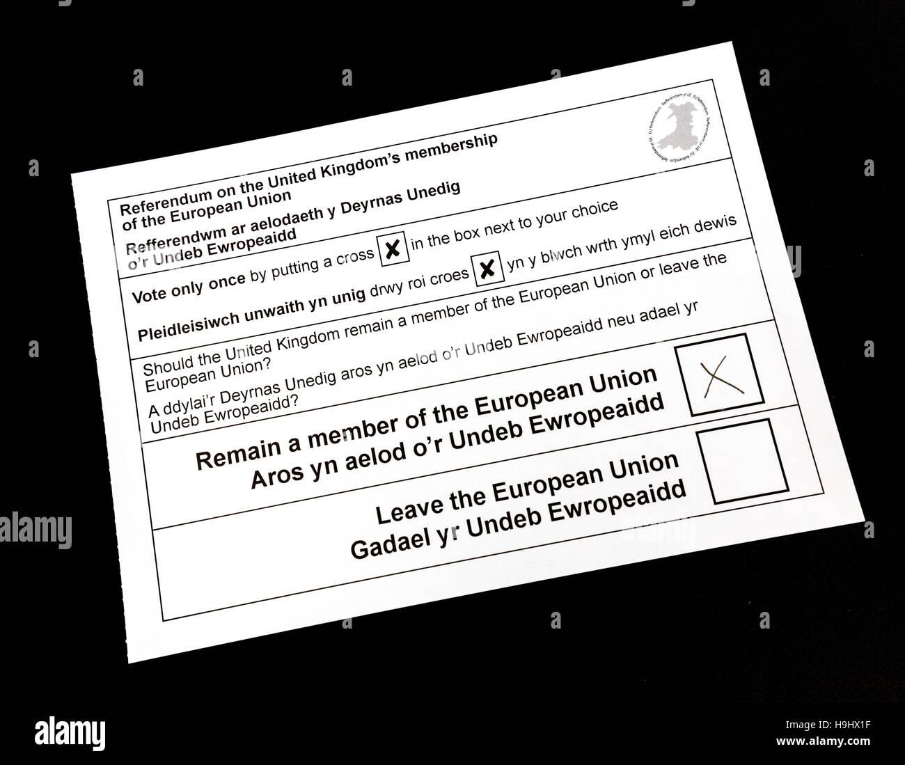 Pour le papier de vote 2016 Royaume-Uni référendum sur restant ou quitter l'Union européenne Photo Stock