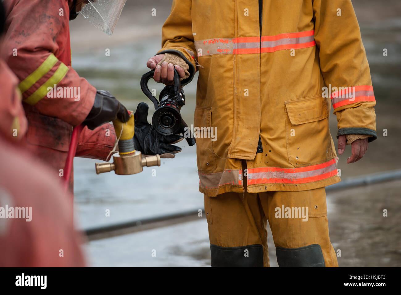 Les pompiers exécutent connexion hôte Photo Stock