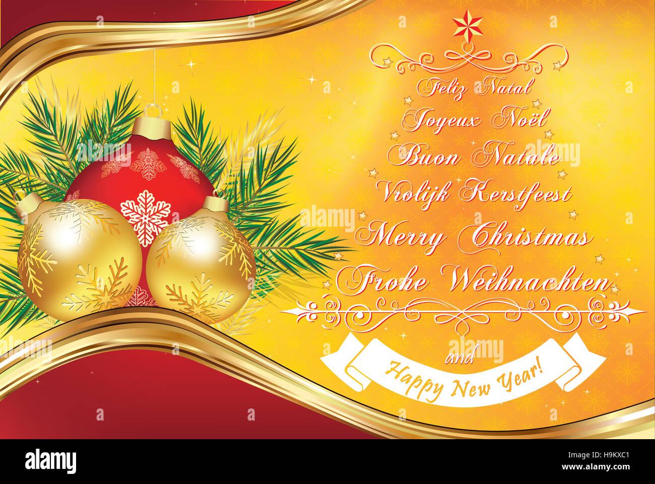 Carte de voeux Nouvel An chaud en plusieurs langues : Joyeux Noël