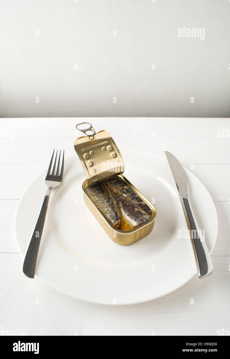 Conserves de sardines à l'huile d'olive sur l'analyse conceptuelle de la plaque blanche Photo Stock