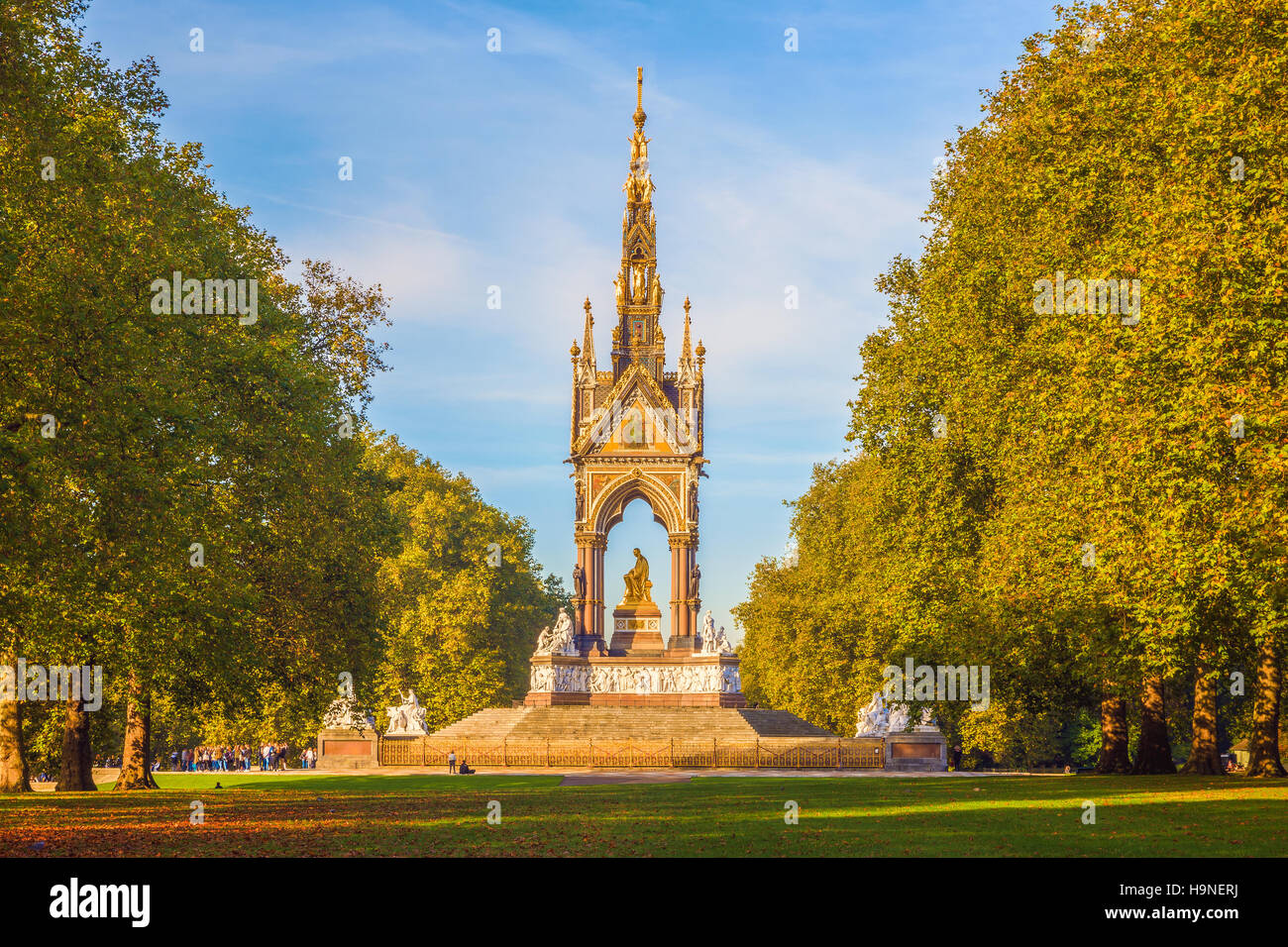 Saison d'automne à l'Albert Memorial à Londres Photo Stock