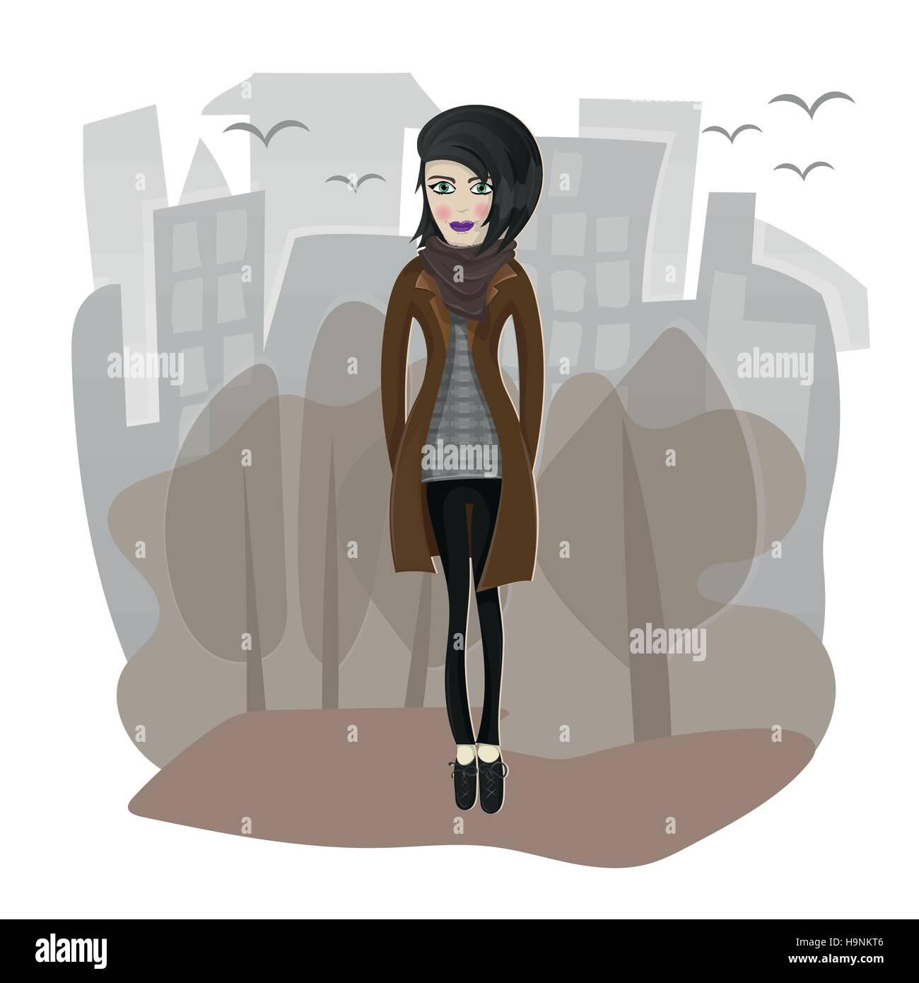 Vector illustration d'élégant fille qui marche dans la ville Illustration de Vecteur