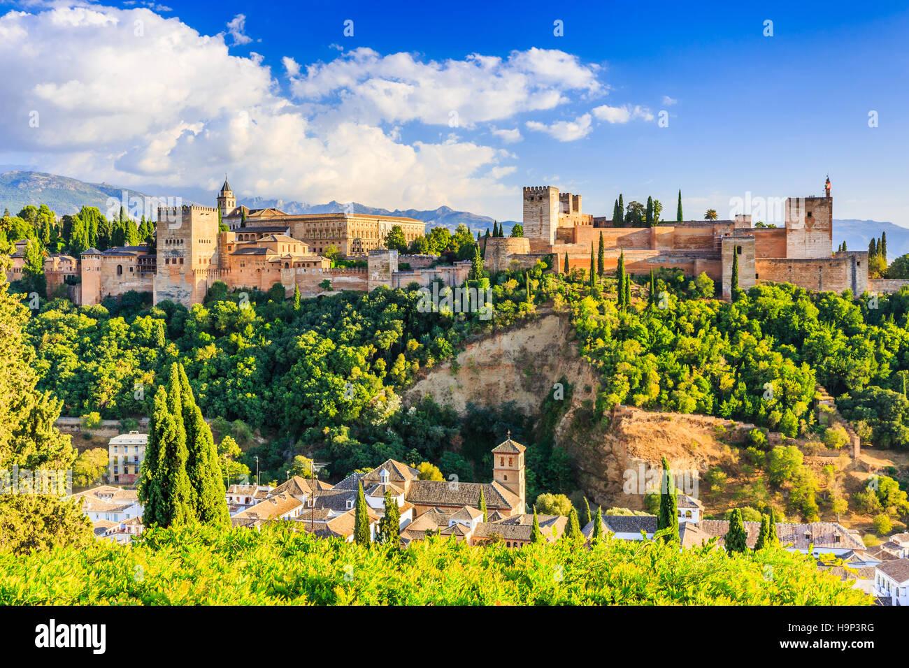 Alhambra de Grenade, Espagne. Forteresse de l'Alhambra. Banque D'Images