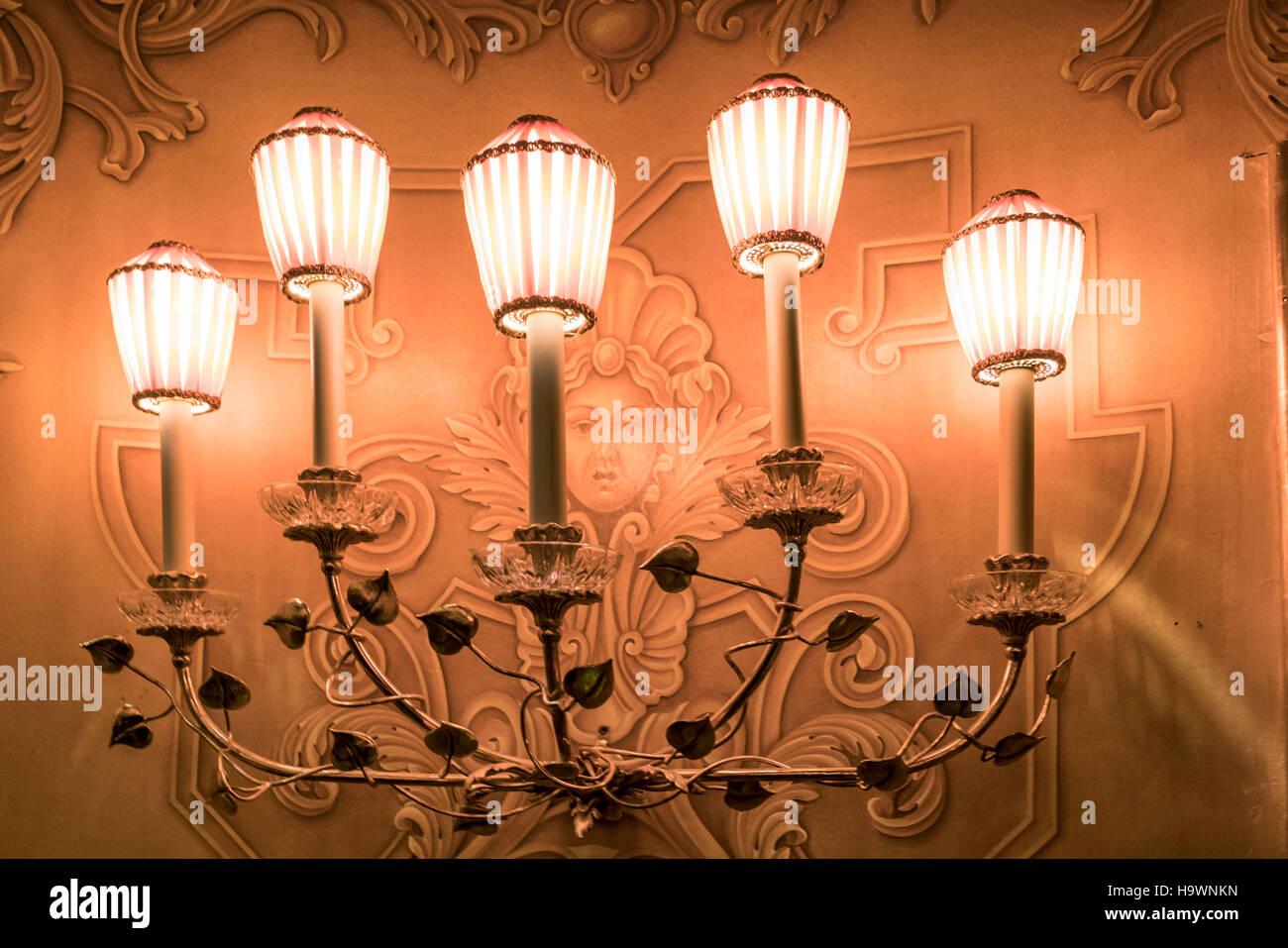 Théâtre de l'opéra La Fenice, lampes, Venezia, Venice, Venise, Italie, Europe, Photo Stock
