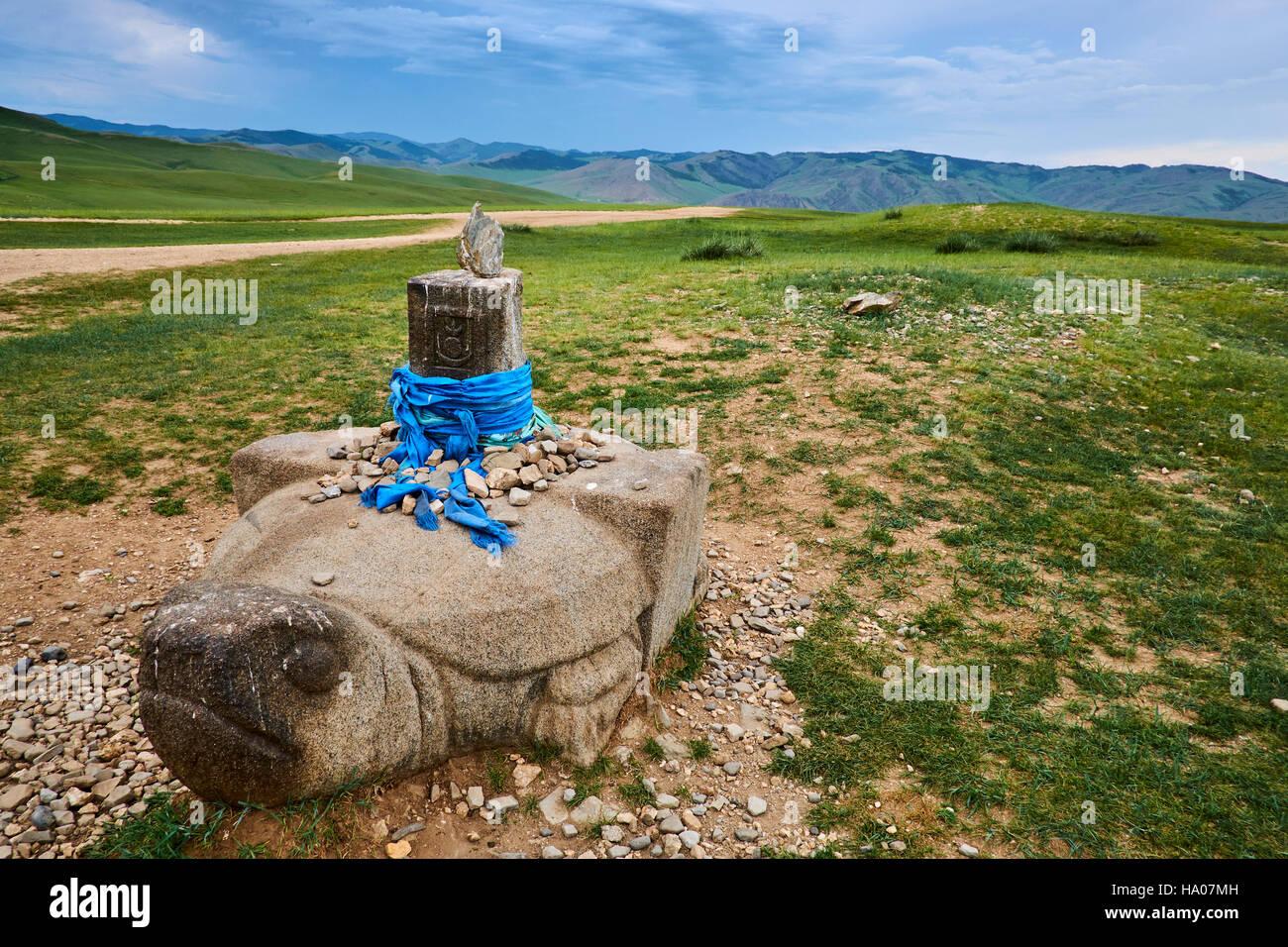 La Mongolie, l'Övörkhangaï, Kharkhorin, vallée de l'Orkhon, Unesco world heritage, tortue Photo Stock