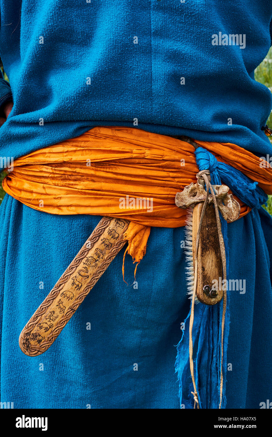 La Mongolie, province de Bayankhongor, ceinture traditionnelle Photo Stock