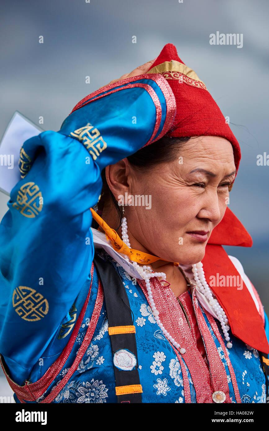 La Mongolie, province d'Uvs, l'ouest de la Mongolie, nomade mariage dans la steppe, groupe ethnique Dorvod Photo Stock