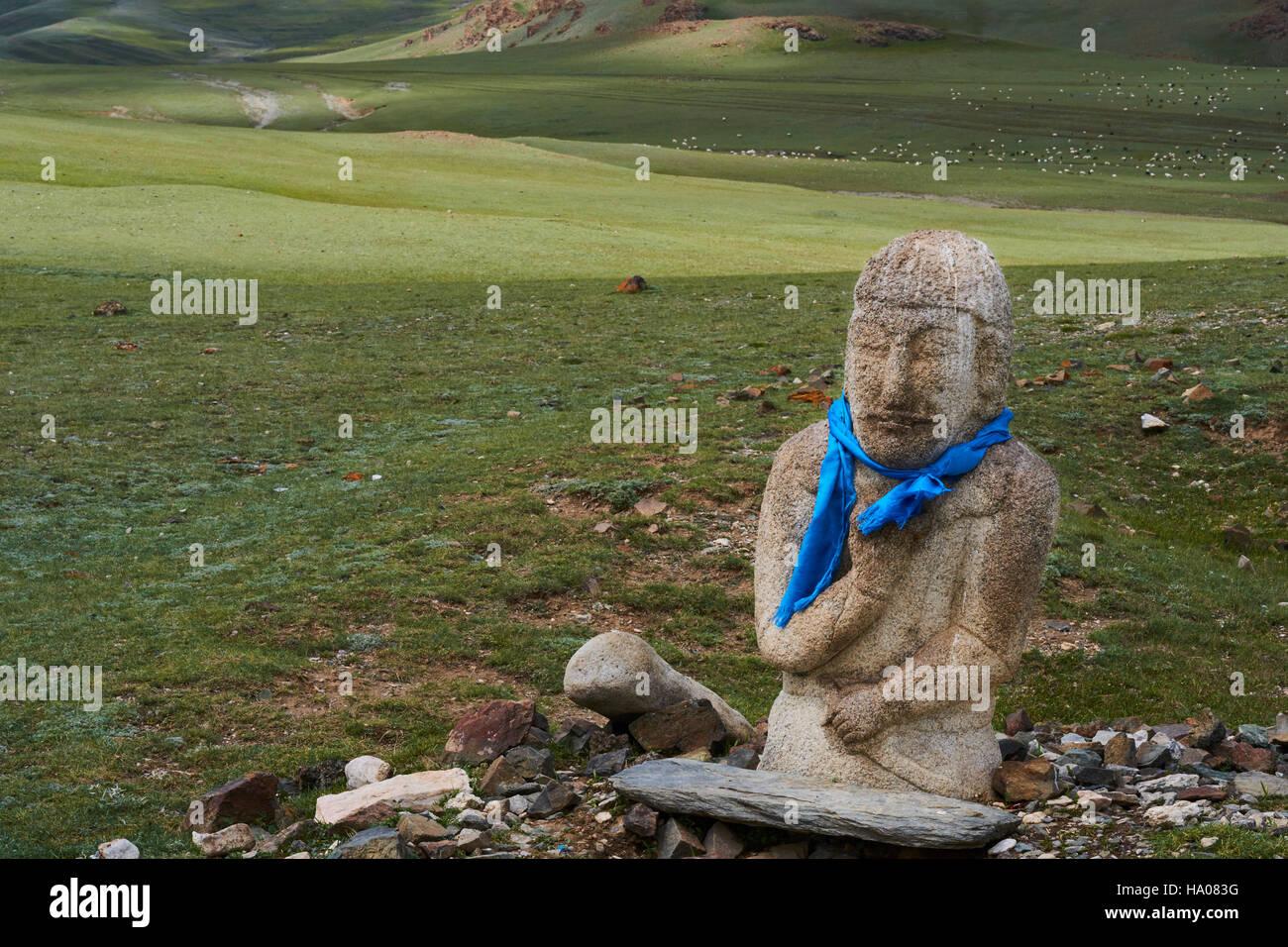 La Mongolie, Gobi-Altay, province de l'ouest de la Mongolie, stèle à forme humaine, IV-VIII siècle Photo Stock