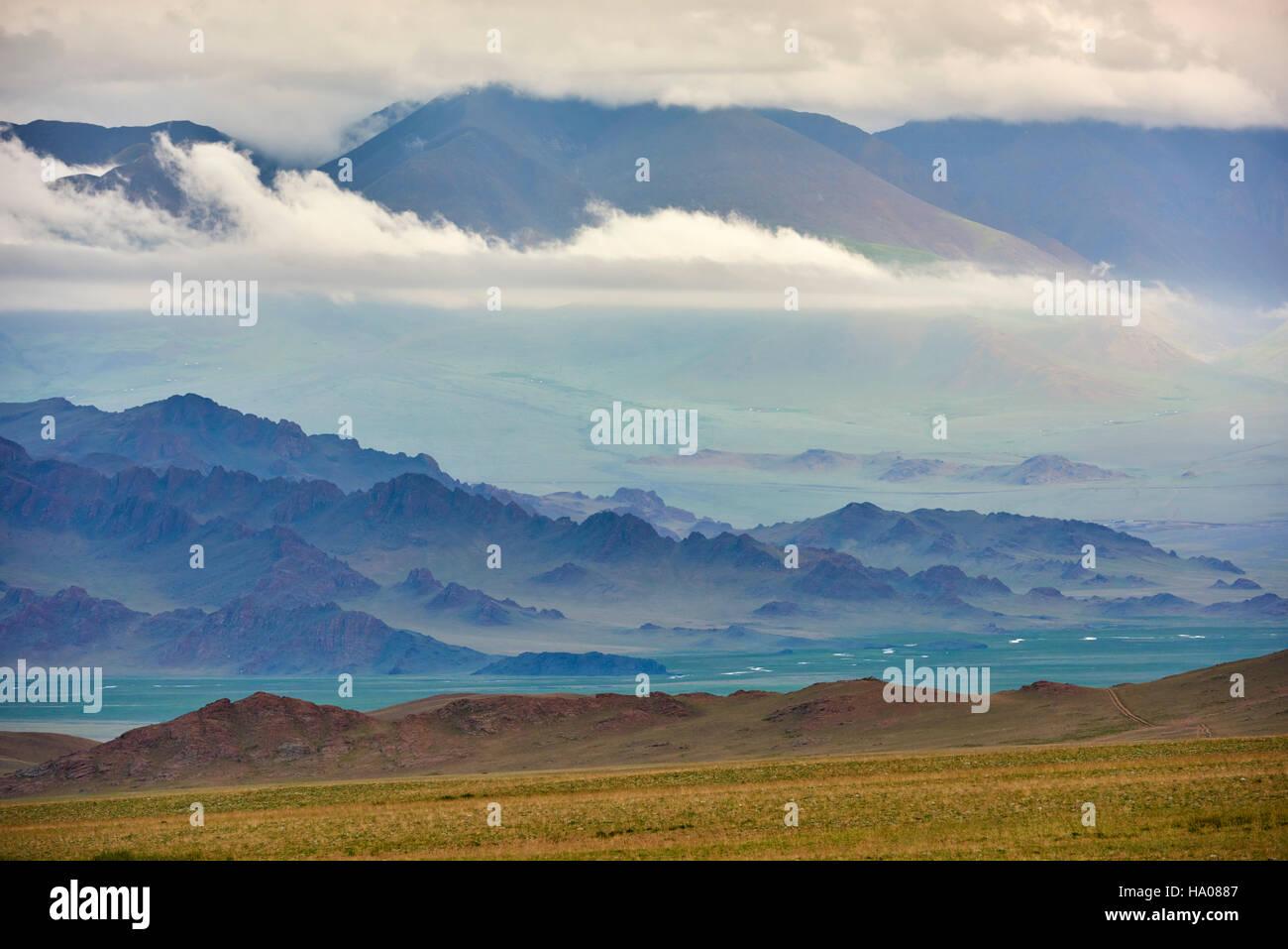La Mongolie, Bayan-Ulgii province, l'ouest de la Mongolie, les montagnes colorées de l'Altay Photo Stock