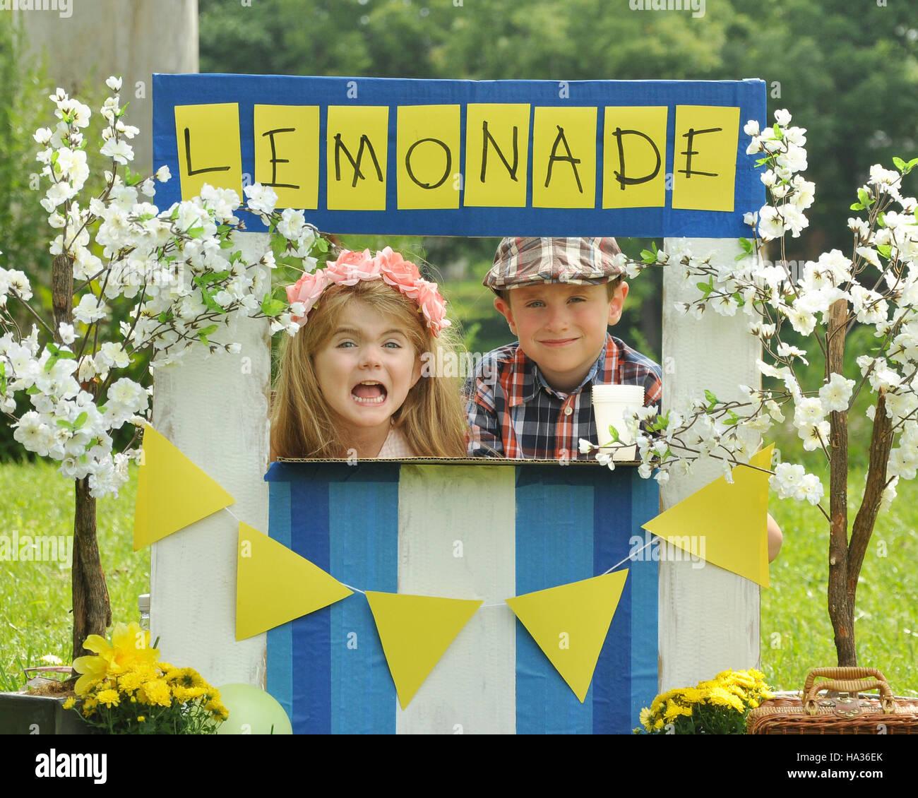 Deux jeunes enfants vendent à une limonade limonade fait maison se tiennent sur une journée ensoleillée avec un signe pour un entrepreneur concept. Banque D'Images
