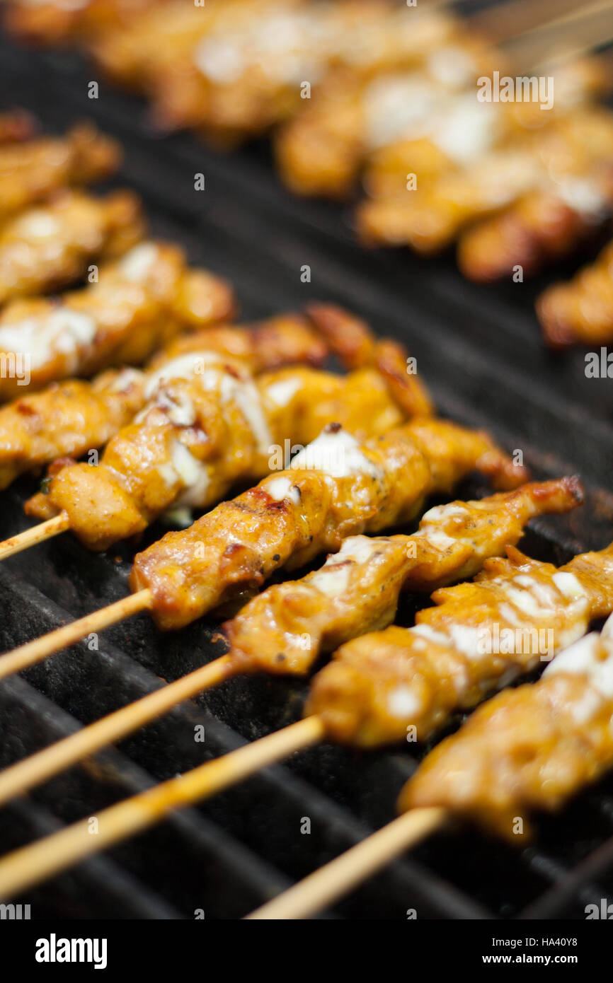 Aliments Thai Satay Poulet grill brochette Photo Stock