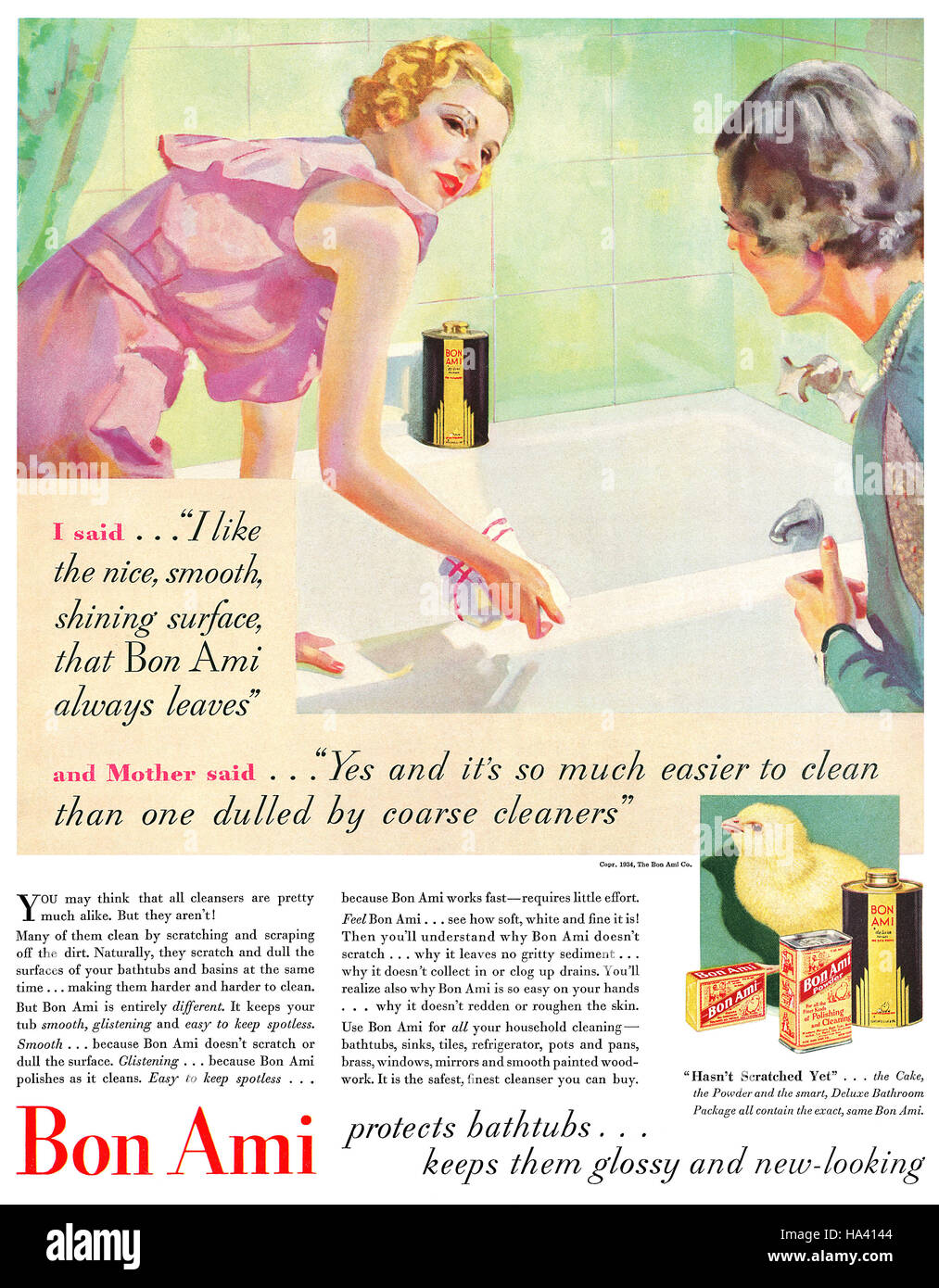 1934 publicité pour du Bon Ami de poudre de nettoyage Photo Stock