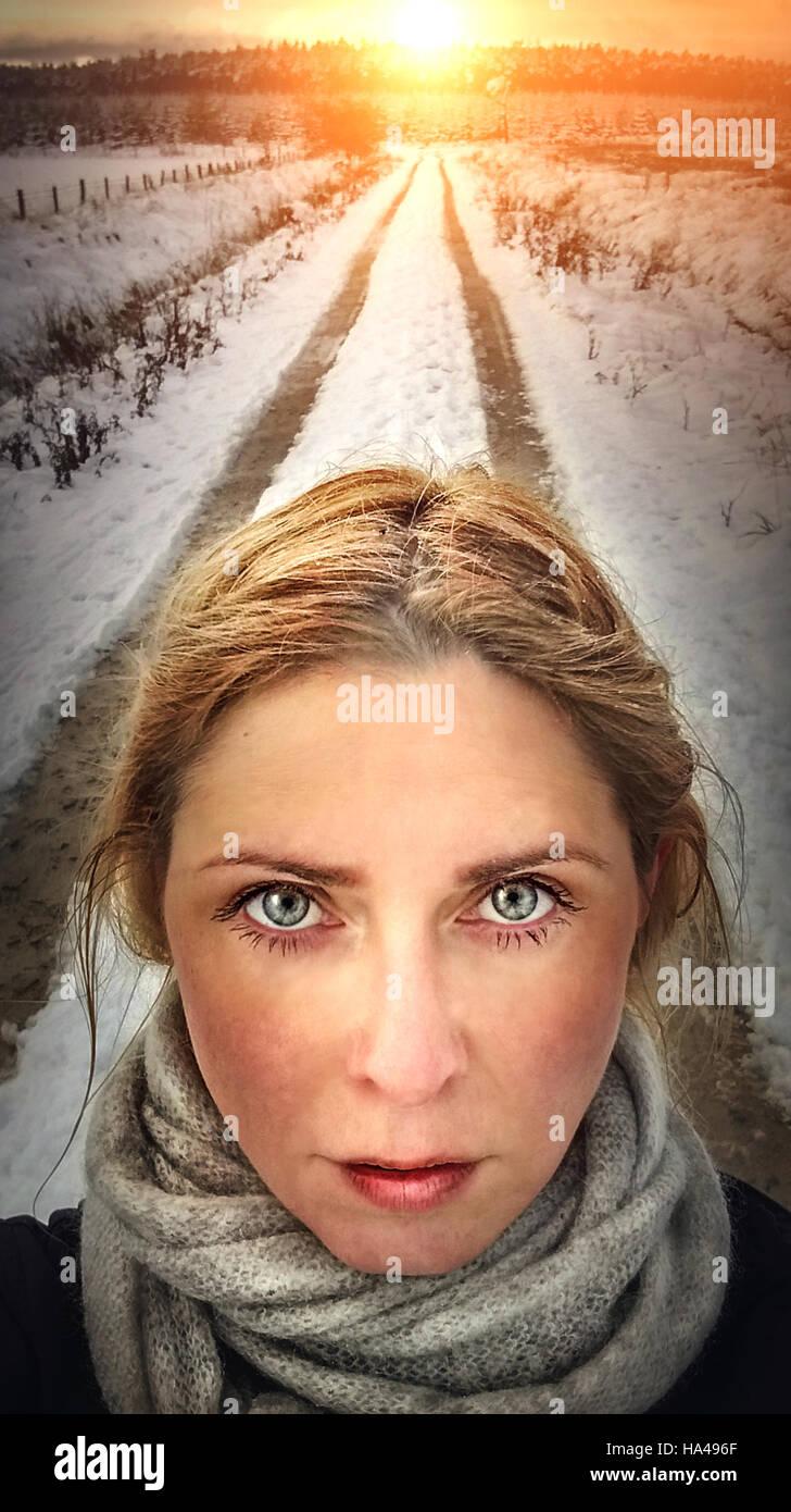 Portrait d'illustration artistique close up of woman face Photo Stock