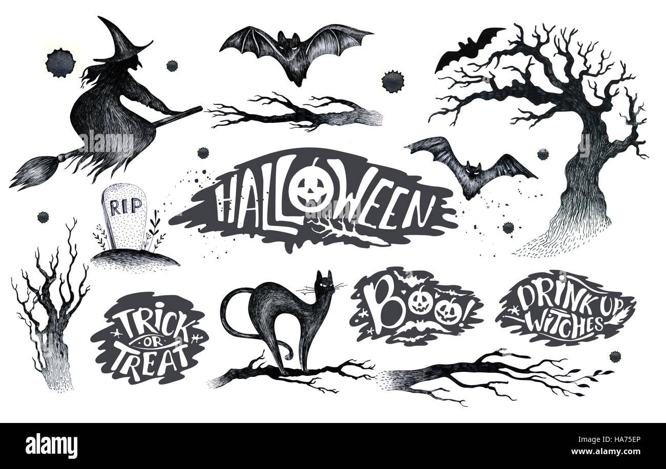 Halloween Dessin Noir Blanc Sur Licône Graphique Appelée