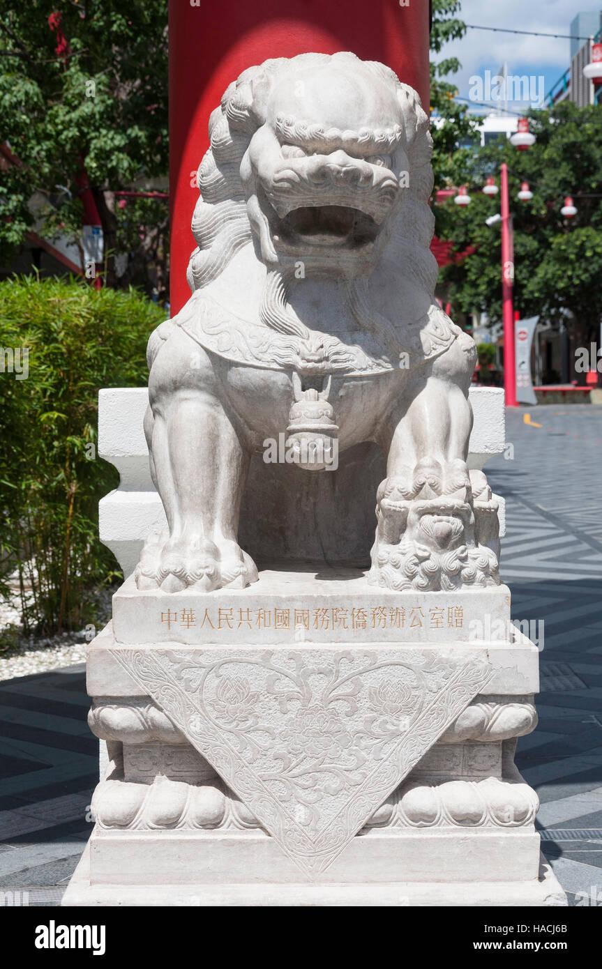 Tuteur chinois lion à l'entrée de Chinatown Mall, Chinatown, Fortitude Valley, Brisbane, Queensland, Photo Stock