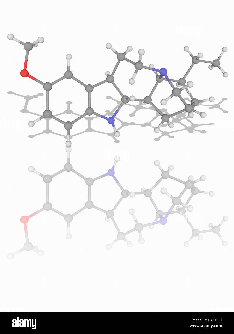 L'ibogaïne. Le modèle moléculaire du médicament l'ibogaïne (C20.H26.N2.O). Il s'agit d'une substance psychoactive naturelle trouvée dans un certain nombre de plantes. Les atomes sont représentés comme des sphères et sont codés par couleur: carbone (gris), l'hydrogène (blanc), l'azote (bleu) et d'oxygène (rouge). L'illustration. Banque D'Images