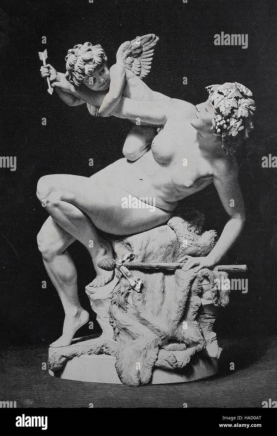Amor et Bacchantin, la mythologie grecque, illustration publié en 1880 Photo Stock