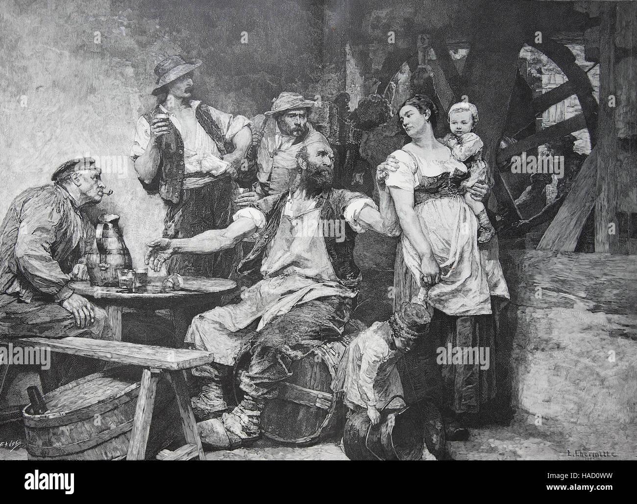 Dans l'ancienne auberge, France, par L. Lhermitte,un peintre français, illustration publié en 1880 Photo Stock