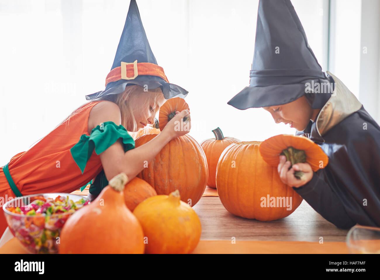Les enfants curieux à la recherche de citrouille dans le Photo Stock