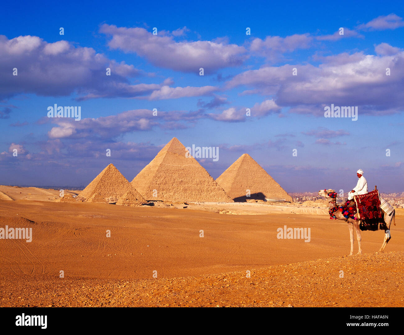 Pyramides et Camel rider, Gizeh, Le Caire, Égypte. Photo Stock